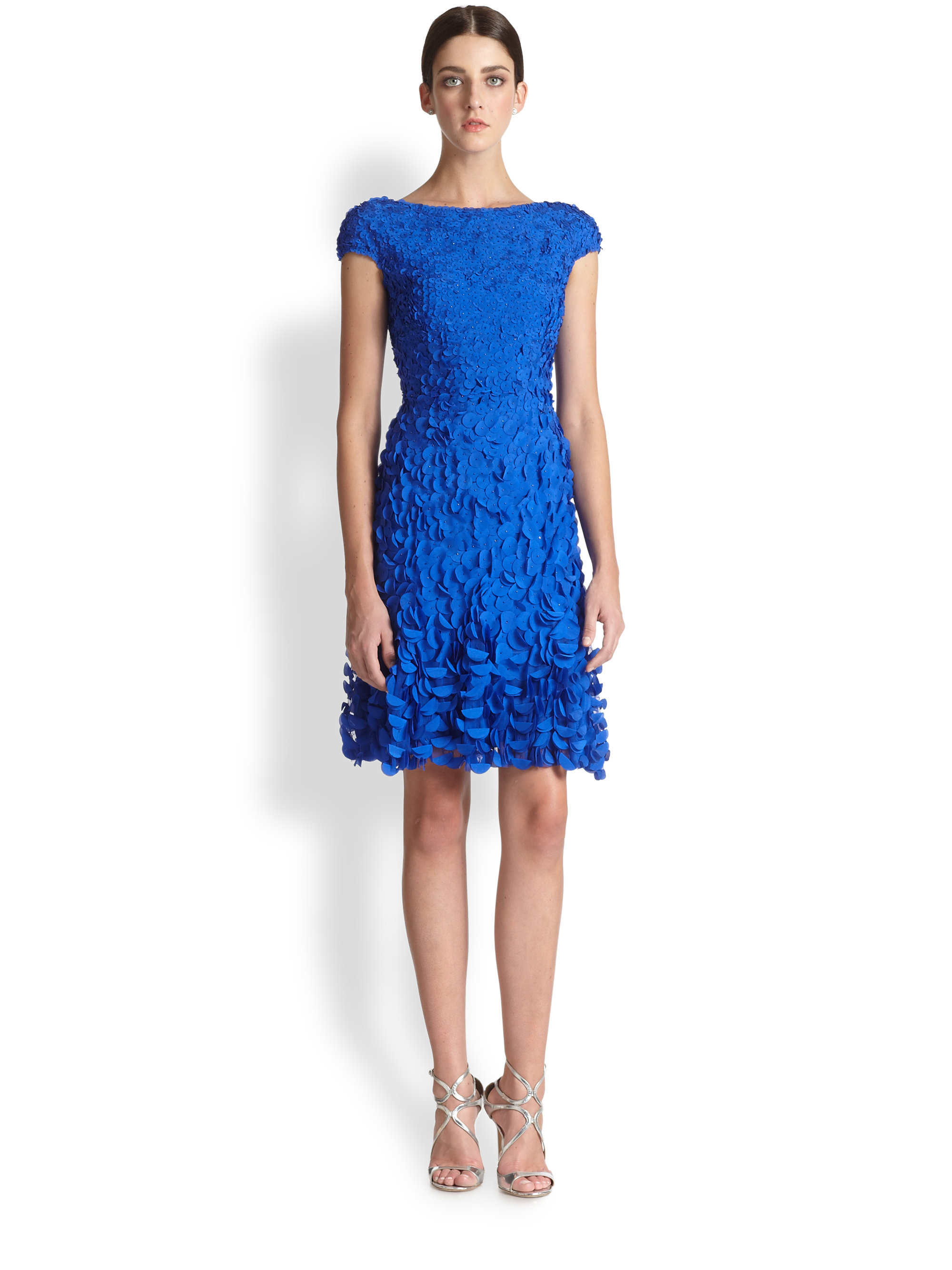Lyst - Theia Boatneck Petal Dress in Blue