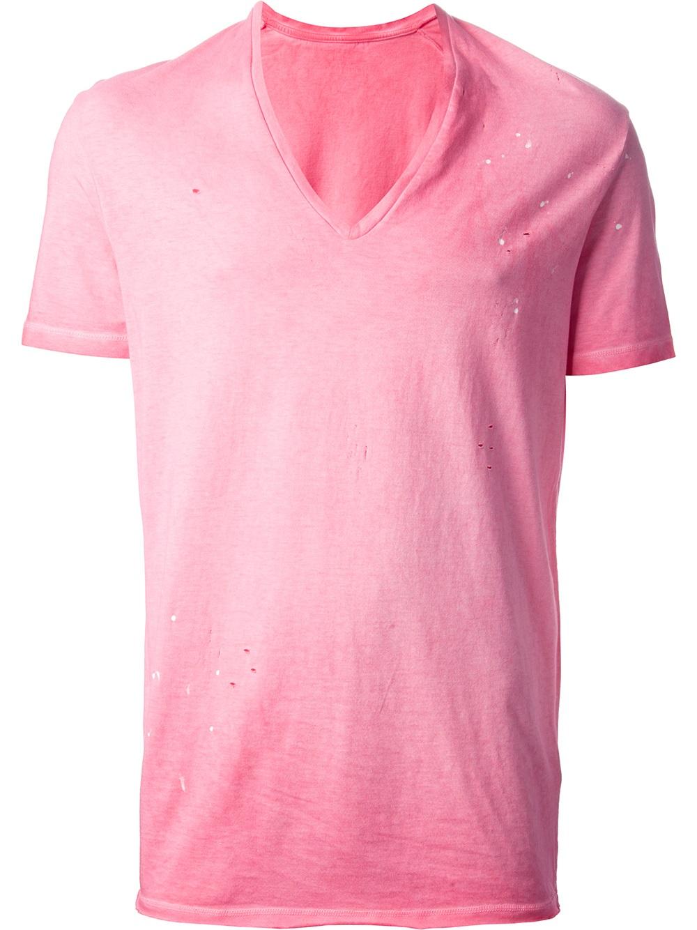 Dsquared² Vneck Tshirt in Pink for Men | Lyst