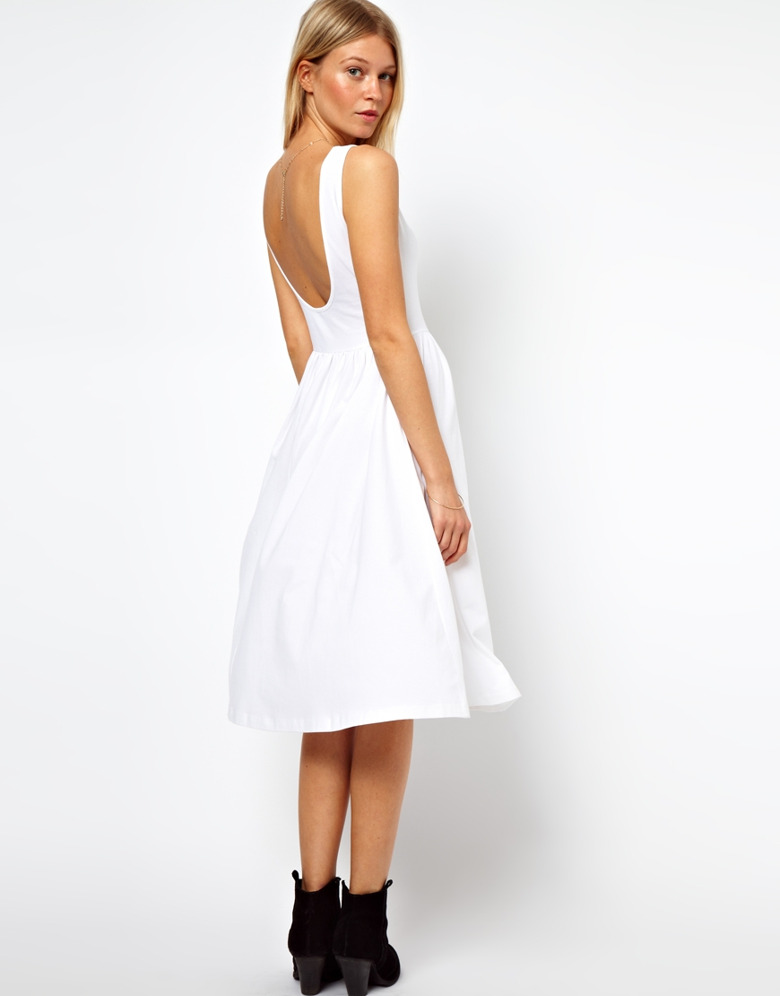 Lyst Asos Midi Fit And Flare Dress With Scoop Back In White