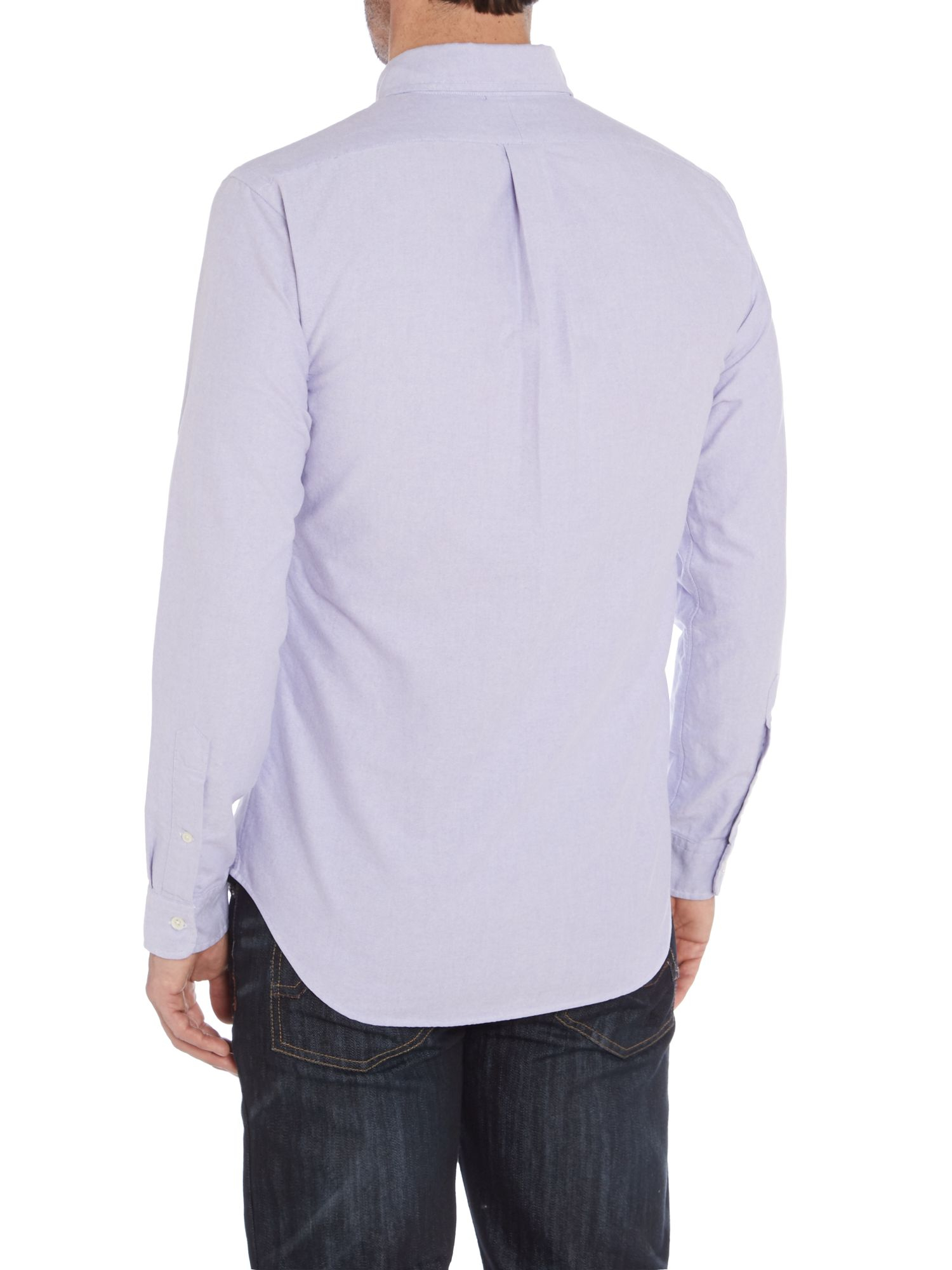 Polo ralph lauren classic slim fit long sleeve shirt in for Long sleeve purple polo shirt