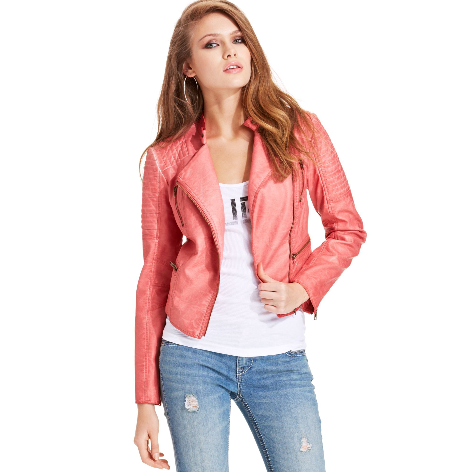 Guess Elena Fauxleather Moto Jacket In Red Lyst