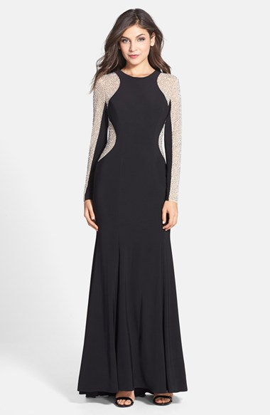 Lyst Xscape Beaded Illusion Sleeve Jersey Mermaid Gown
