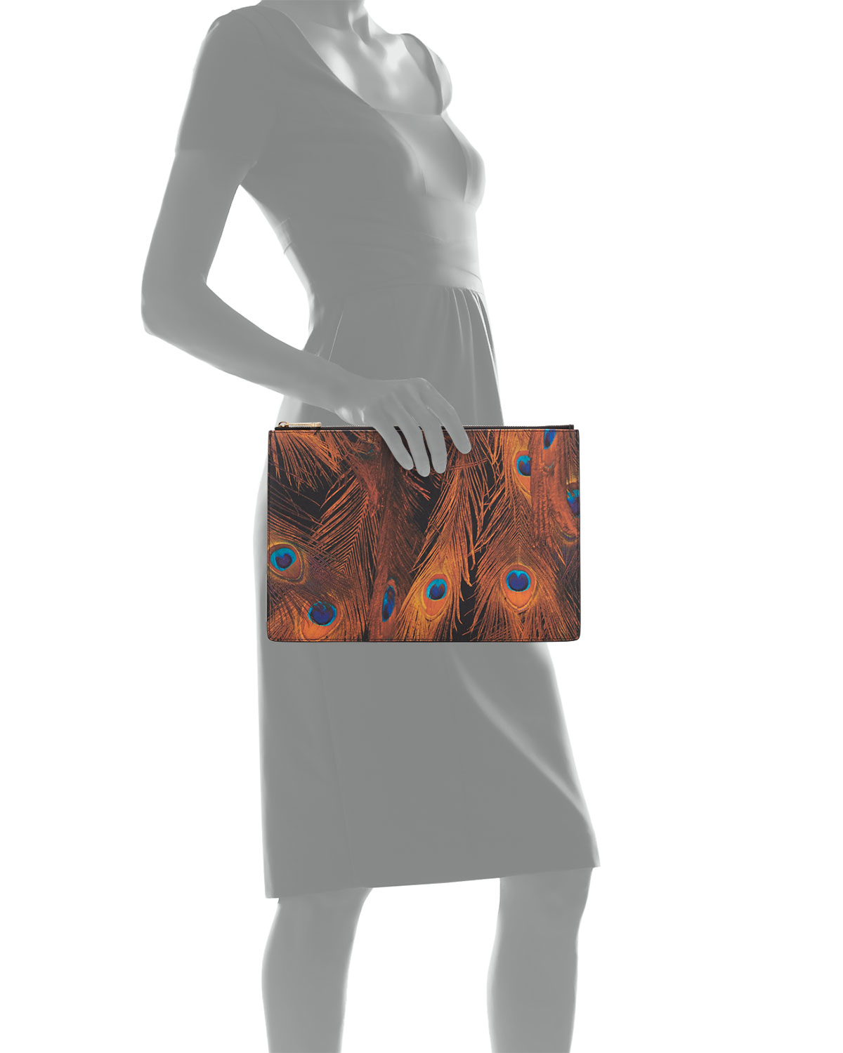 ... Lyst - Givenchy Peacock-print Large Zip Pouch in Brown timeless design  615c1 eae2c ... d7ea6a0f0e
