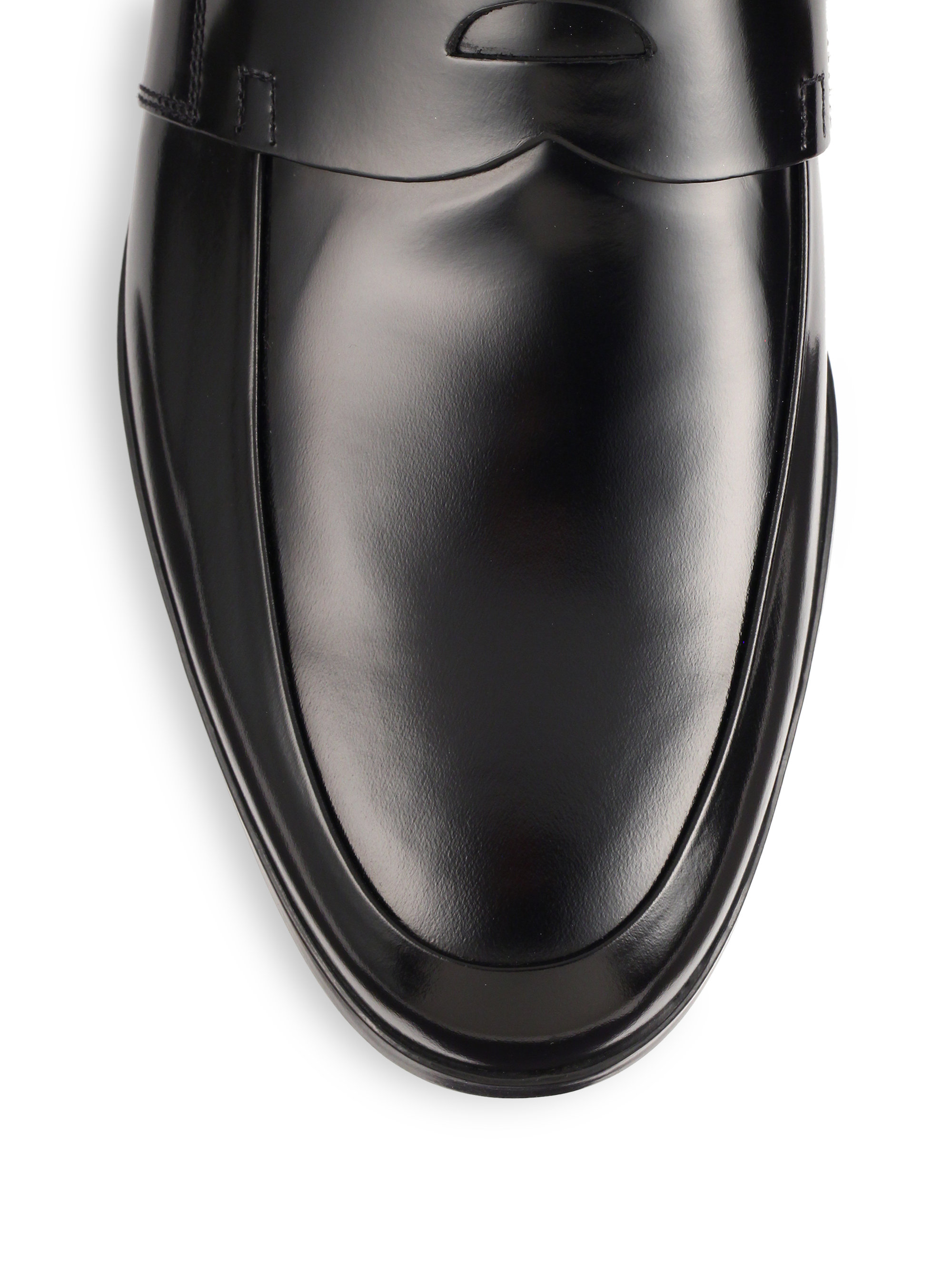 12f677147f9d ... store lyst prada spazzolato leather penny loafers in black for men  0a980 51d26