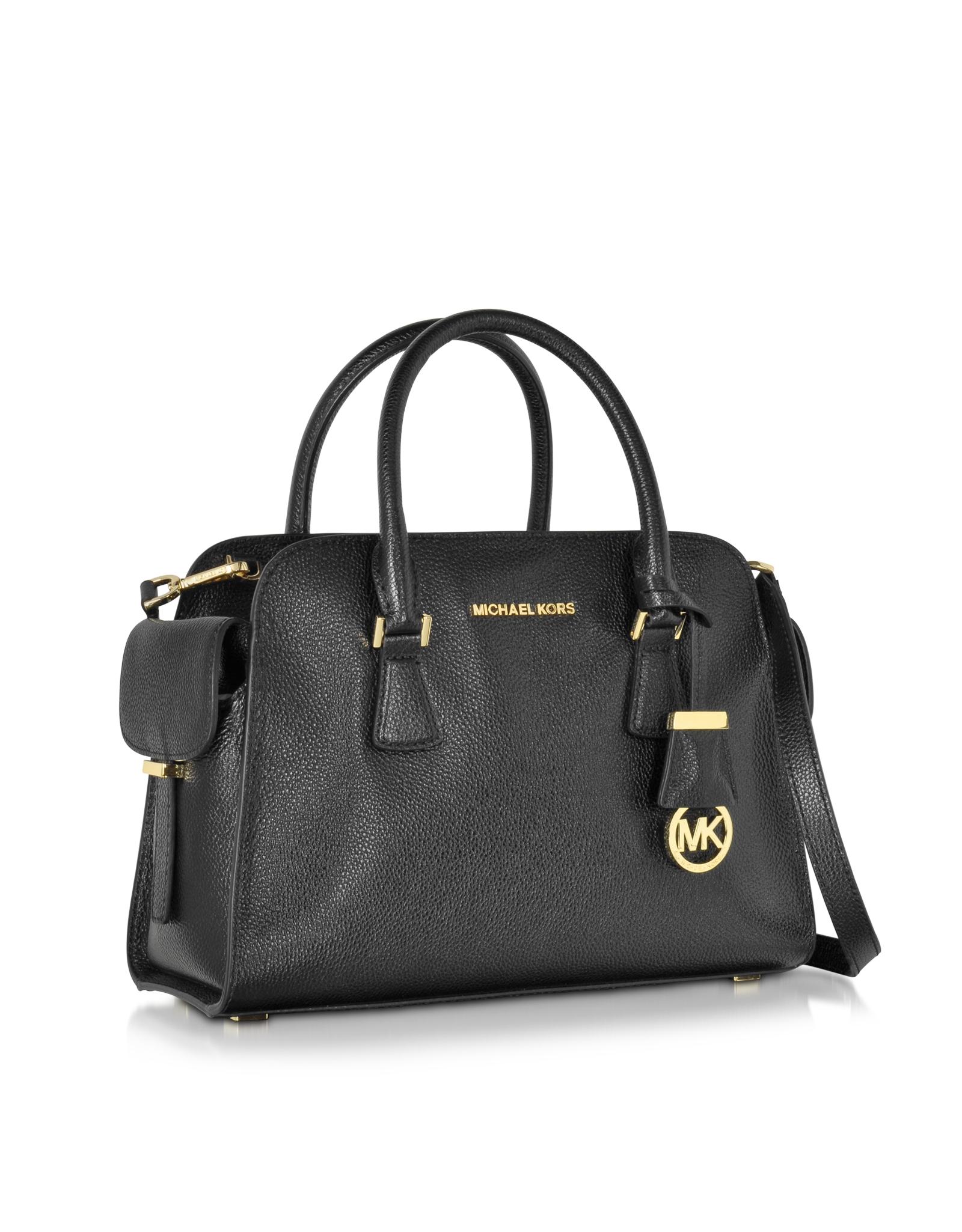 8f5cec6701de Michael Kors Harper Black Glazed Ranch Leather Medium Satchel Bag in ...
