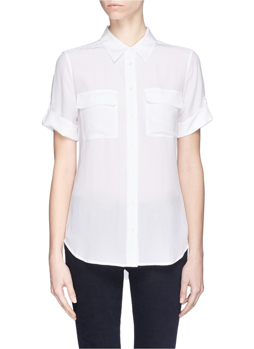 Lyst Equipment 39 Slim Signature 39 Short Sleeve Silk Shirt