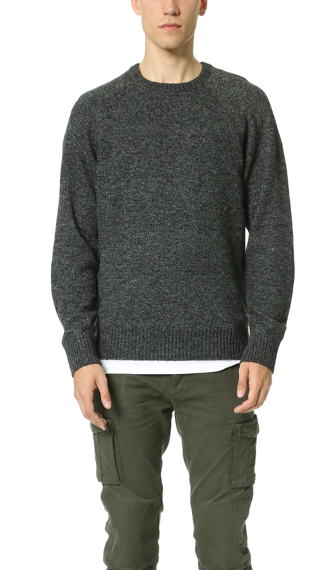 Obey Check Point Sweater in Gray for Men (Charcoal) | Lyst