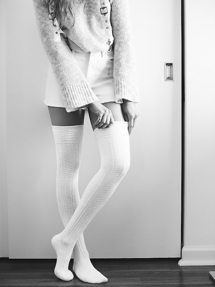 d4903d33b Free People Womens Montana Thigh High Sock in White - Lyst