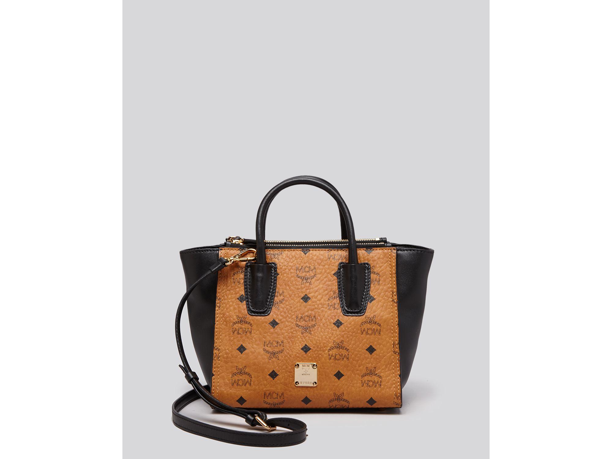 203ec0ad25 Mcm Tote - Visetos Kathy Small Double Zip in Brown (Cognac Black .. prada  saffiano mens - Prada Saffiano Doublezip Small Shoulder Bag ...