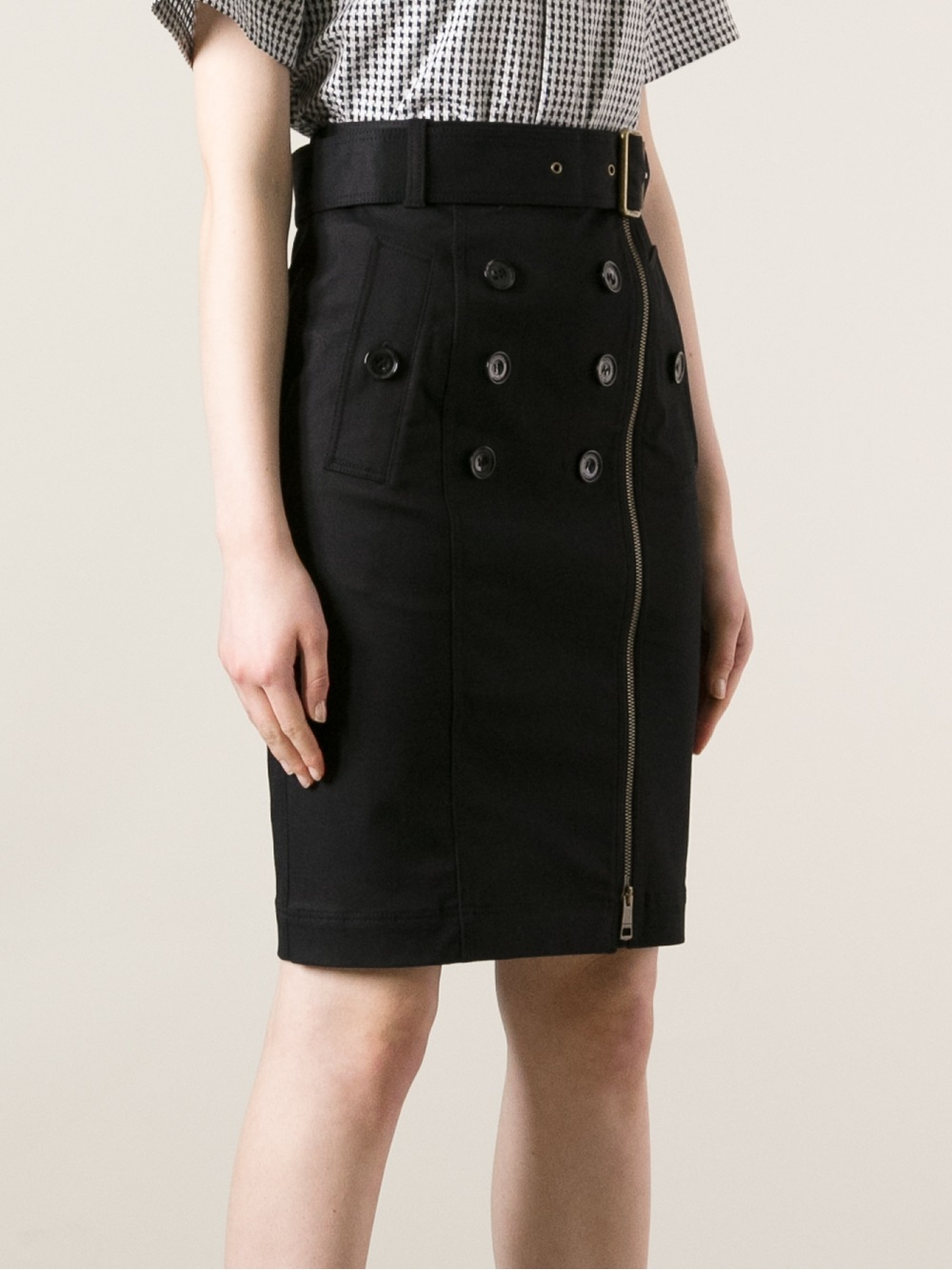 Lyst Burberry Brit Buttoned Pencil Skirt In Black