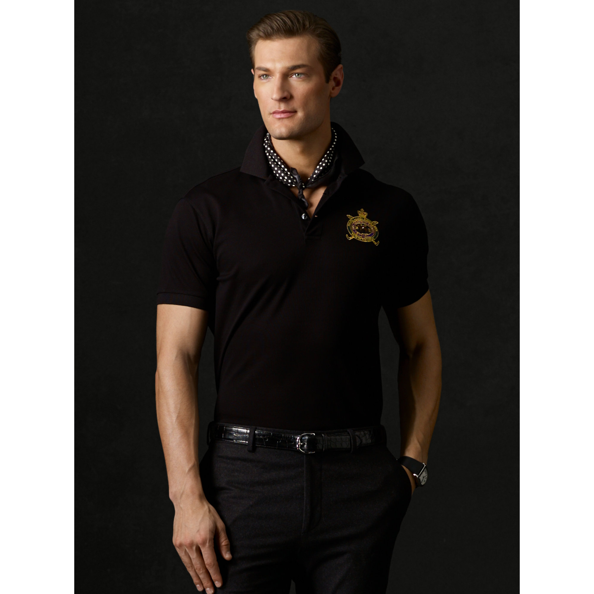 924fd2ad ... sale lyst ralph lauren purple label chinese new year mesh polo in black  fd1fd 74199