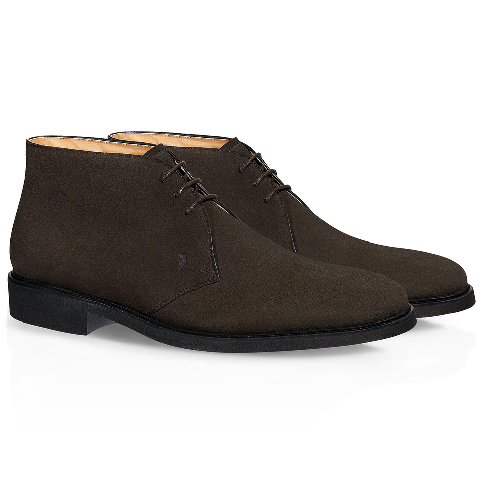 tod s lace up ankle boots in suede in brown for lyst
