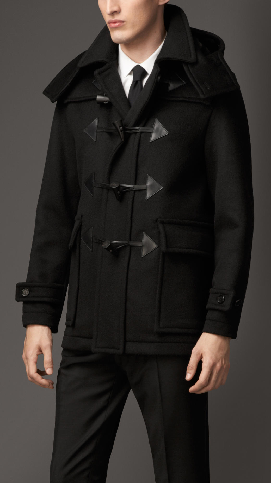 Burberry Wool Cashmere Duffle Coat With Detachable Hood in Black