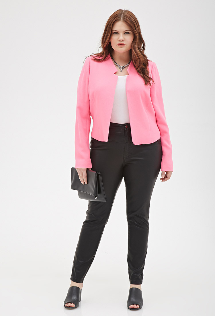 Forever 21 Plus Size Textured Collarless Blazer in Pink | Lyst