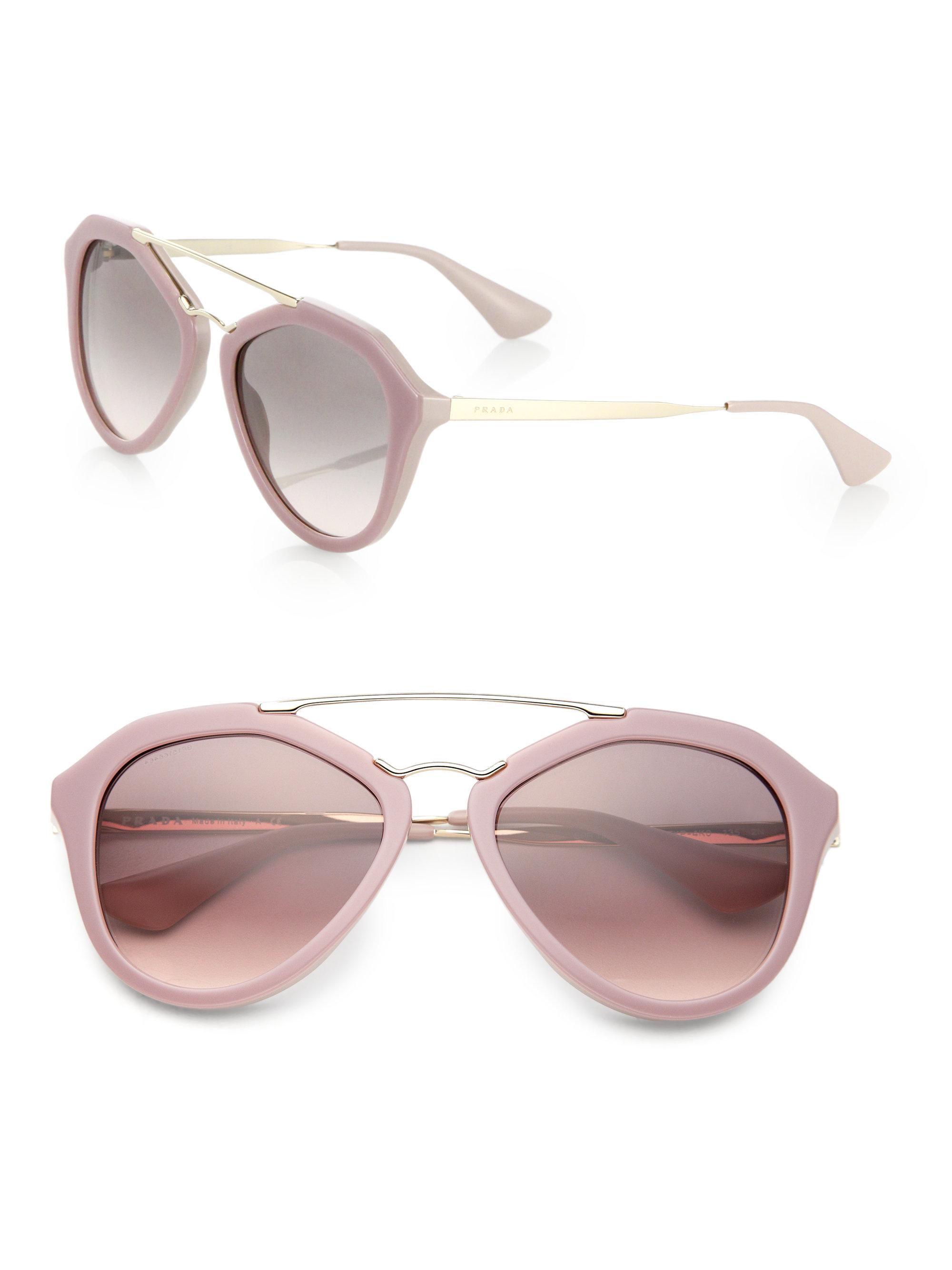 cfb569a98e4 ... italy lyst prada pilot 54mm double bridge sunglasses in pink 39ac2 2f4c1