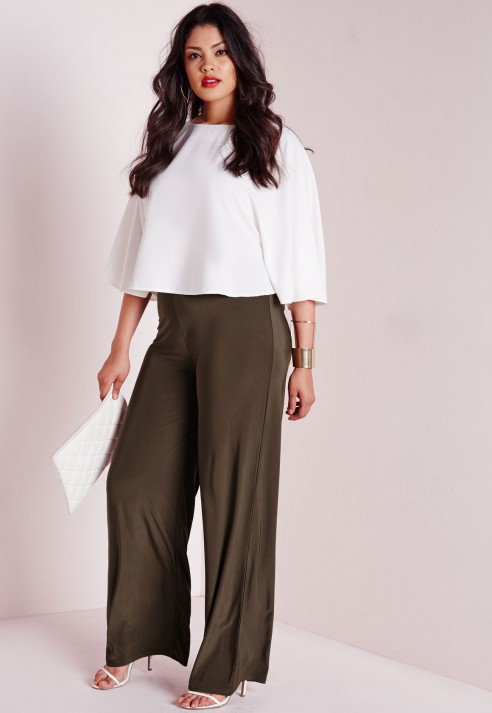 Missguided Plus Size Slinky Wide Leg Trousers Khaki in Natural | Lyst
