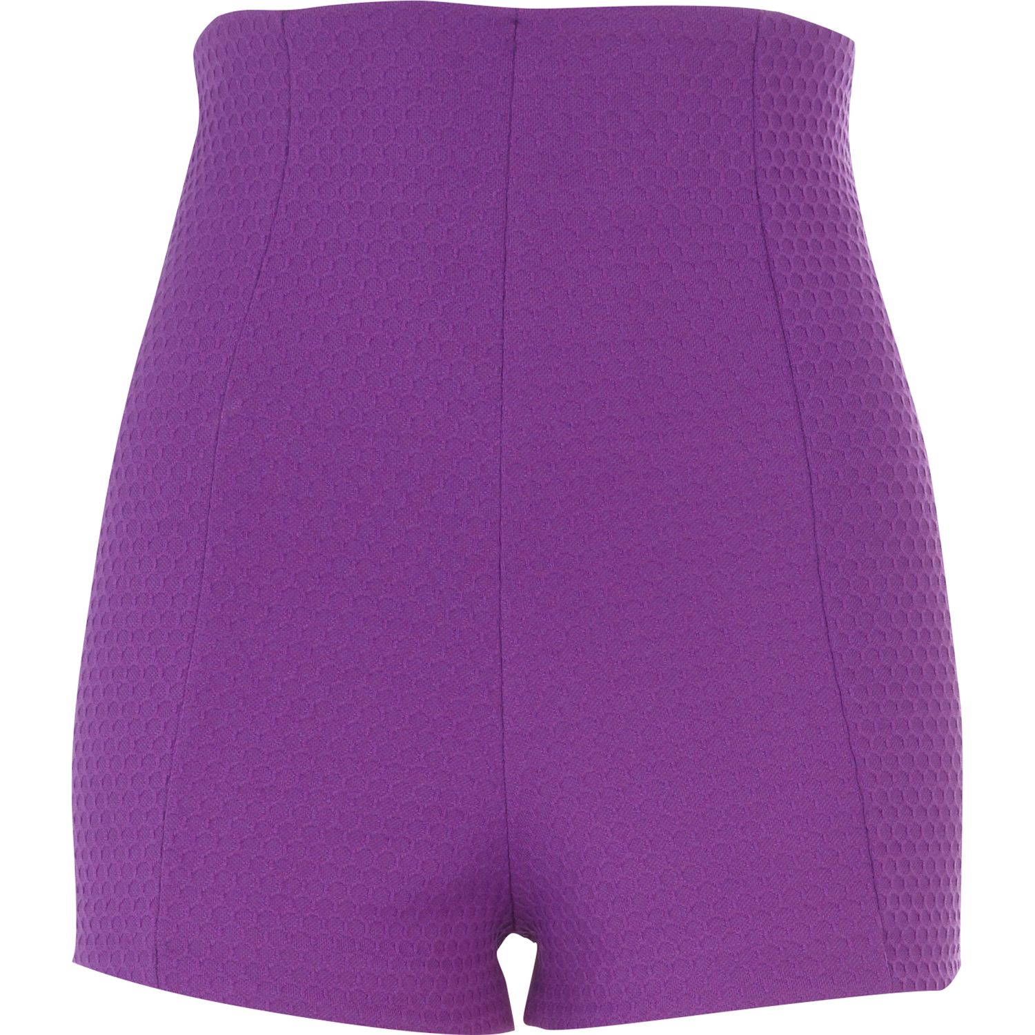 River island Purple Textured High Waisted Shorts in Purple | Lyst