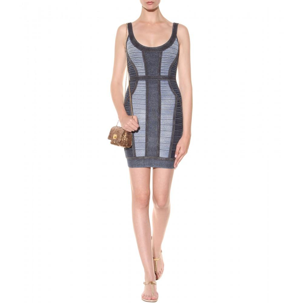 herv 233 l 233 ger aja denim effect bandage dress in blue lyst