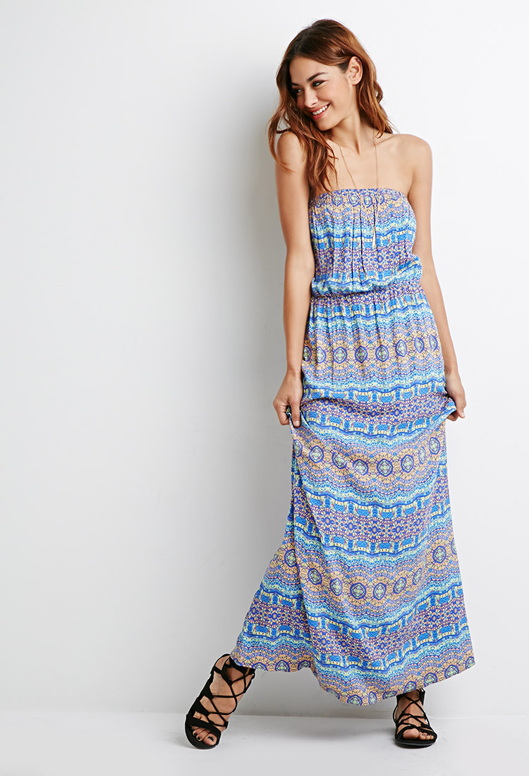 2489a92f6 Forever 21 Strapless Print Maxi Dress in Blue - Lyst