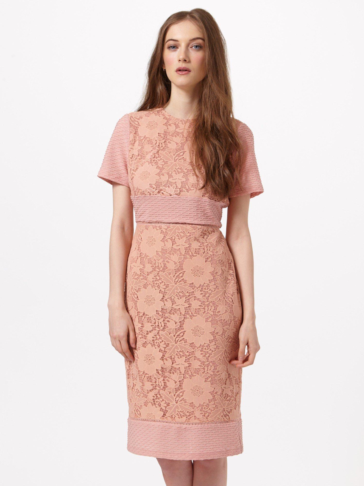 Lace-panelled pencil dress