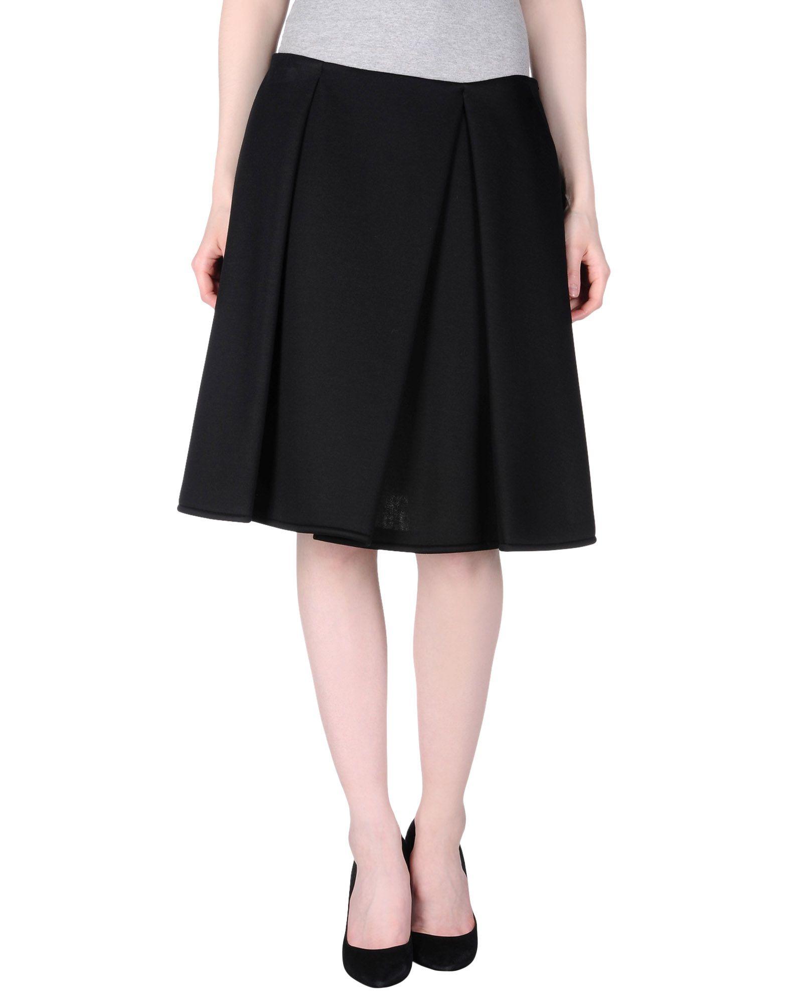jil sander navy black knee length skirt lyst