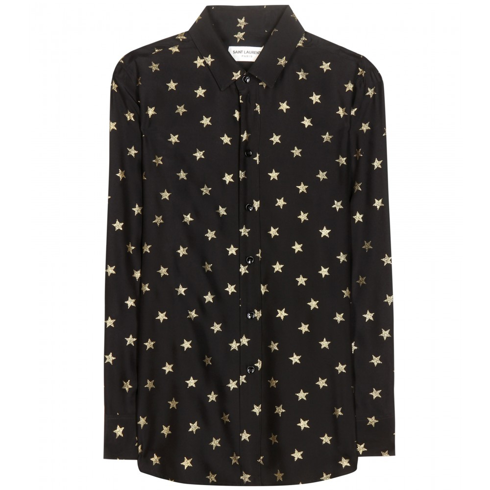 lyst saint laurent star printed silk shirt in black