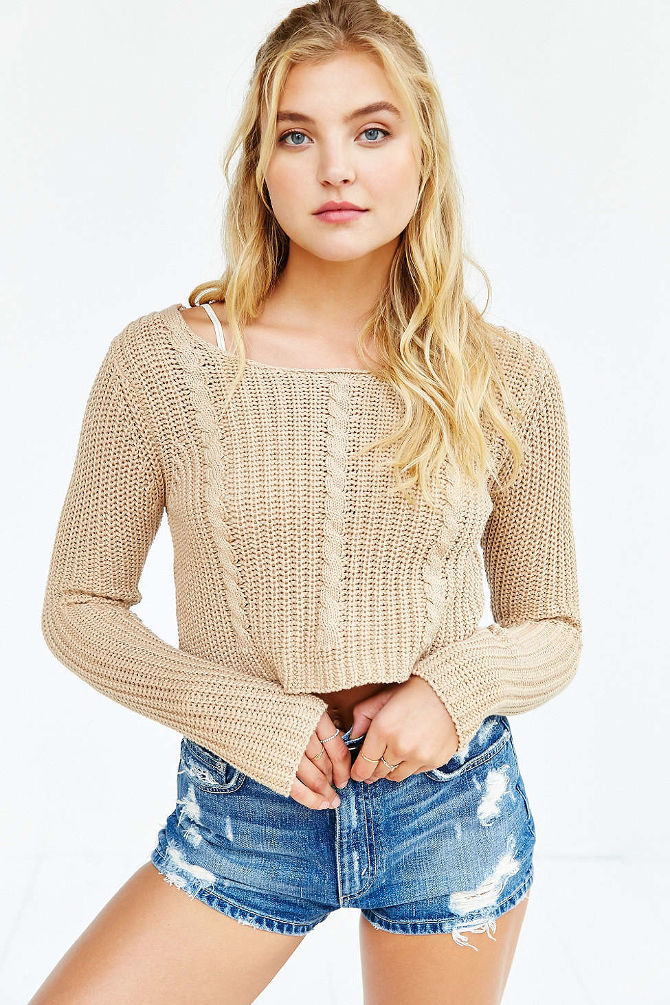 Unif X Uo Cropped Cable-knit Sweater in Brown | Lyst