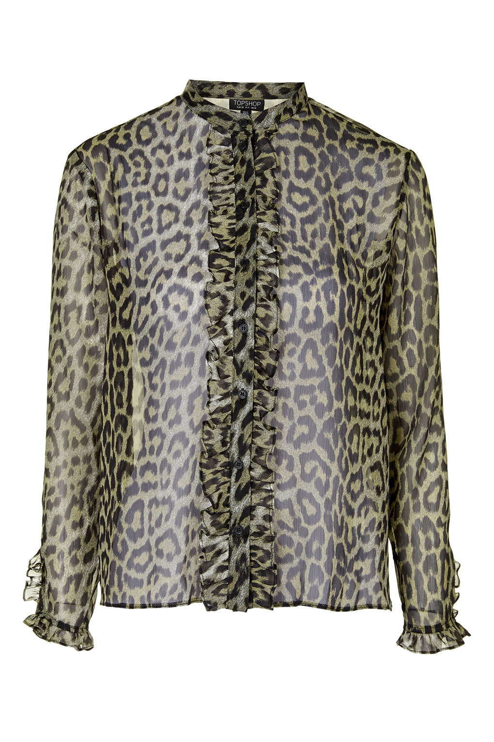 e6cad09a51281 Lyst - TOPSHOP Animal Print Ruffle Blouse in Brown
