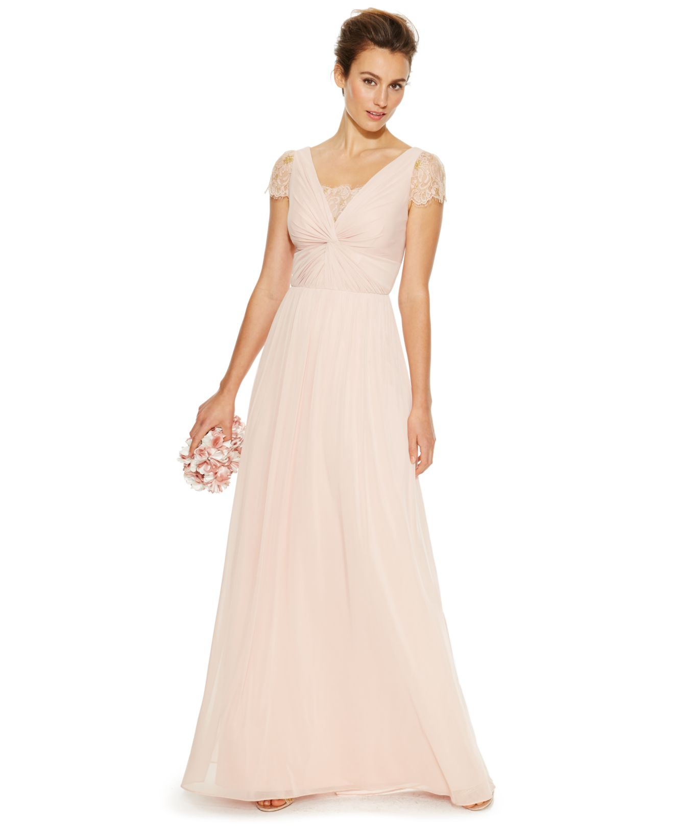 Adrianna papell Lace Twist-front Gown in Pink | Lyst
