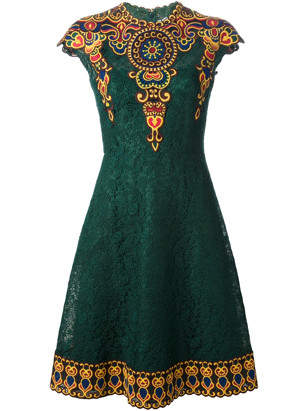 Lyst valentino embroidered floral lace dress in green