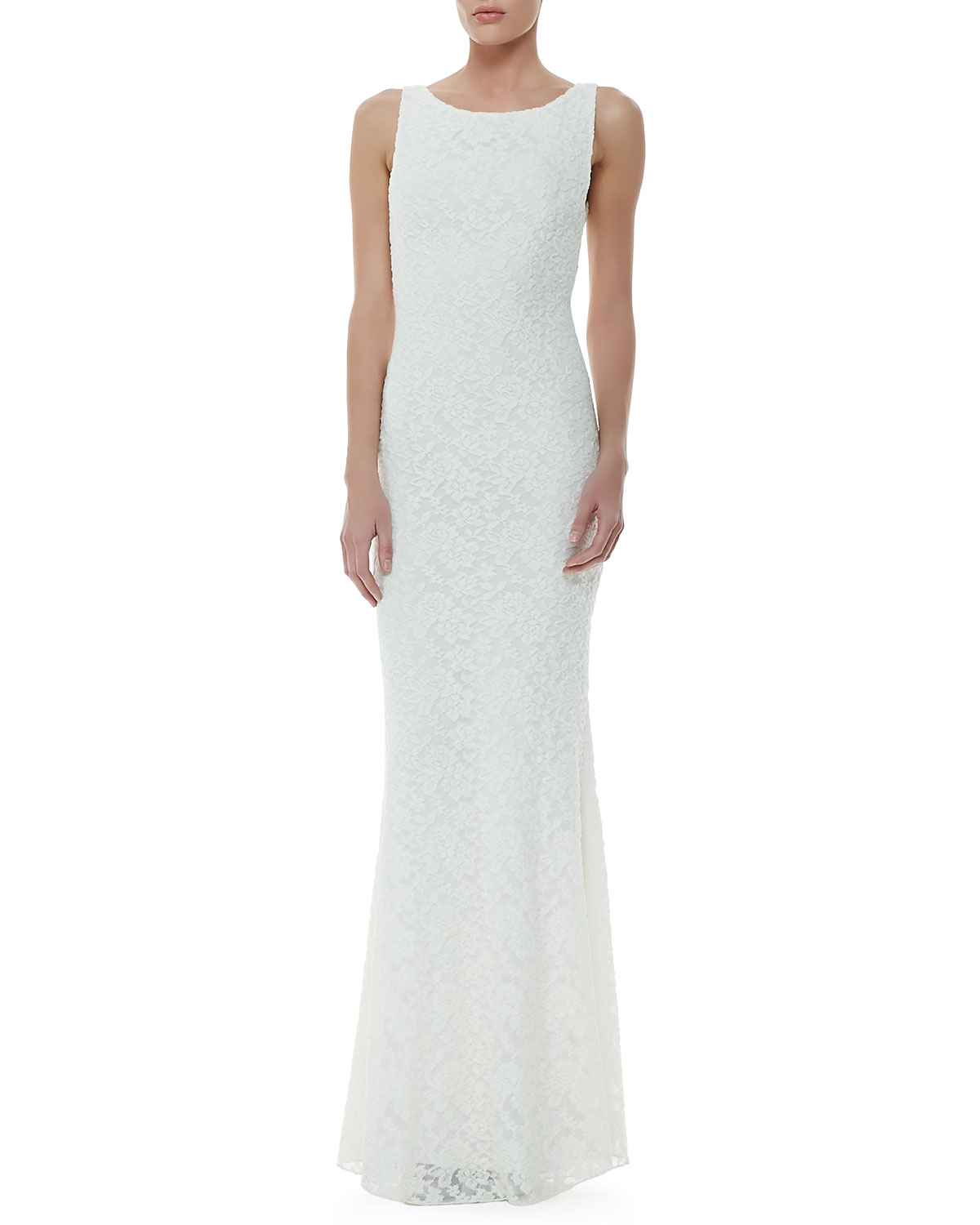 Alice Olivia Sachi Open Back Lace Gown In White Lyst