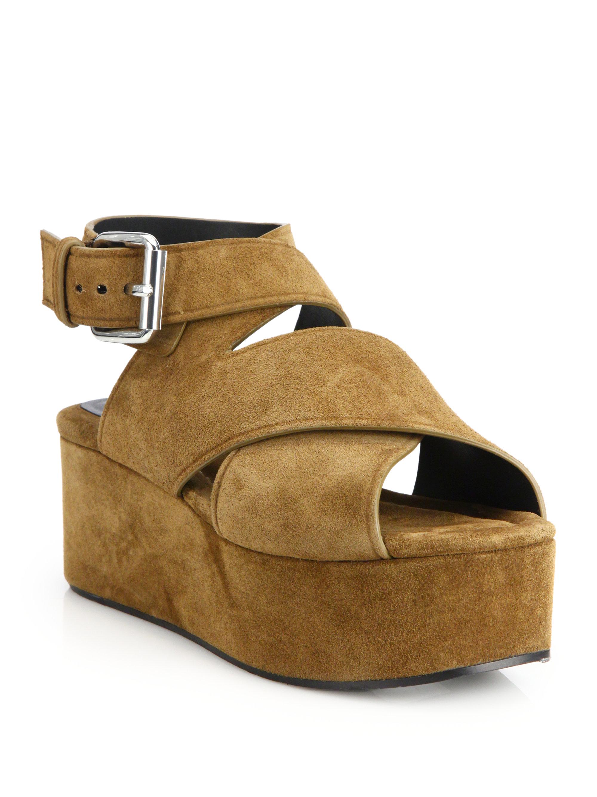39535d60ea4 Lyst - Alexander Wang Rudy Suede Platform Wedge Sandals in Brown