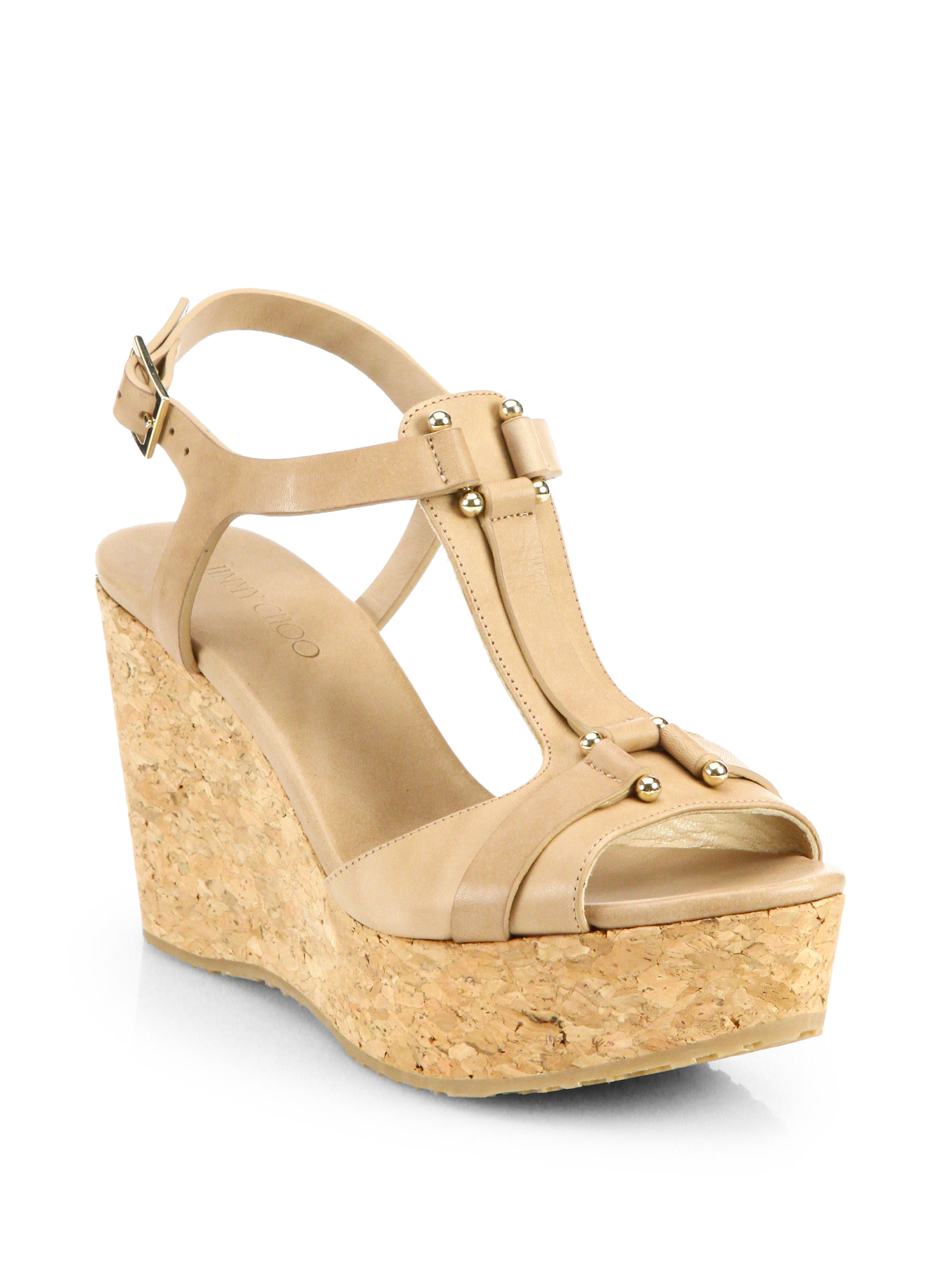 57dd598f5ebb Lyst - Jimmy Choo Pilar Leather Cork Wedge Sandals in Natural
