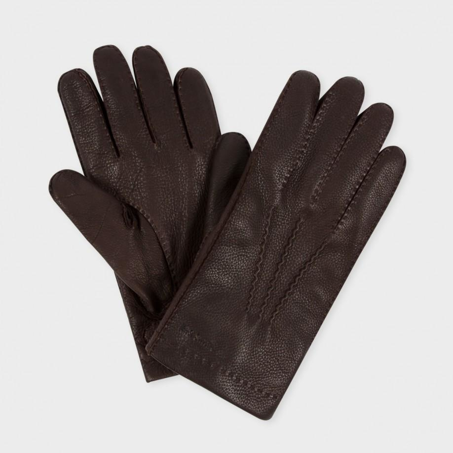 paul smith mens brown deerskin cashmere lined gloves in