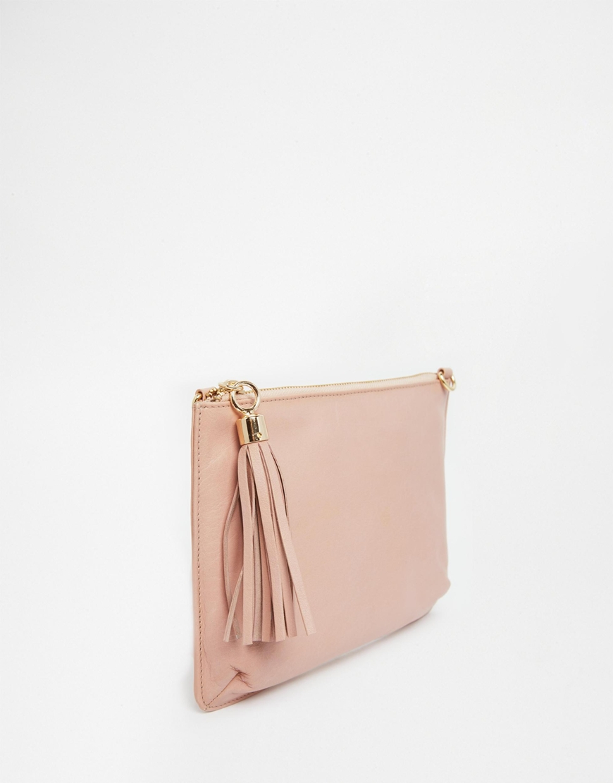 Urbancode Leather Clutch Bag With Optional Shoulder Strap in Pink ...