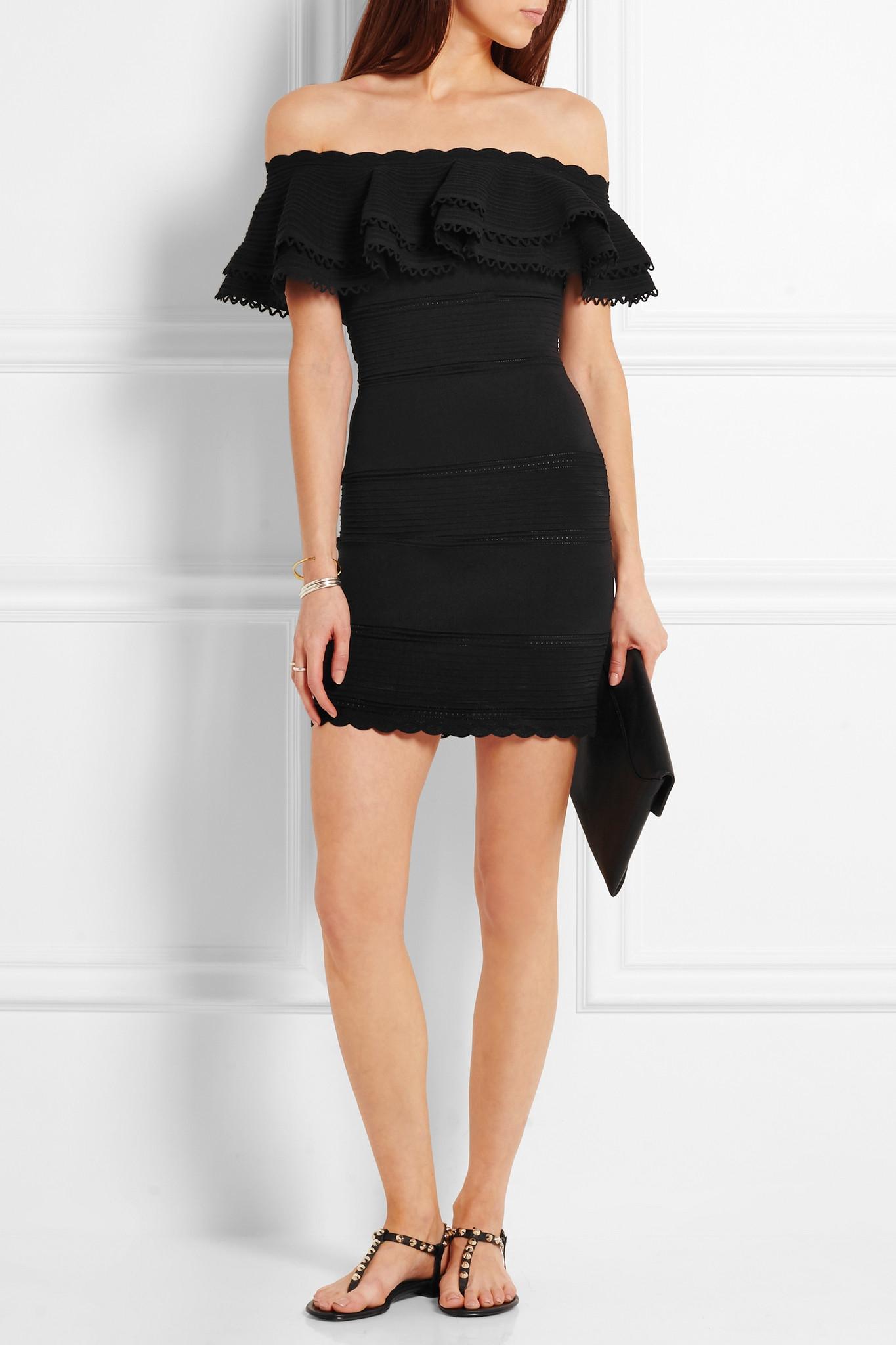 501d5e81eaf9 Alexander McQueen - Off-the-shoulder Lace-paneled Cotton-blend Mini ...
