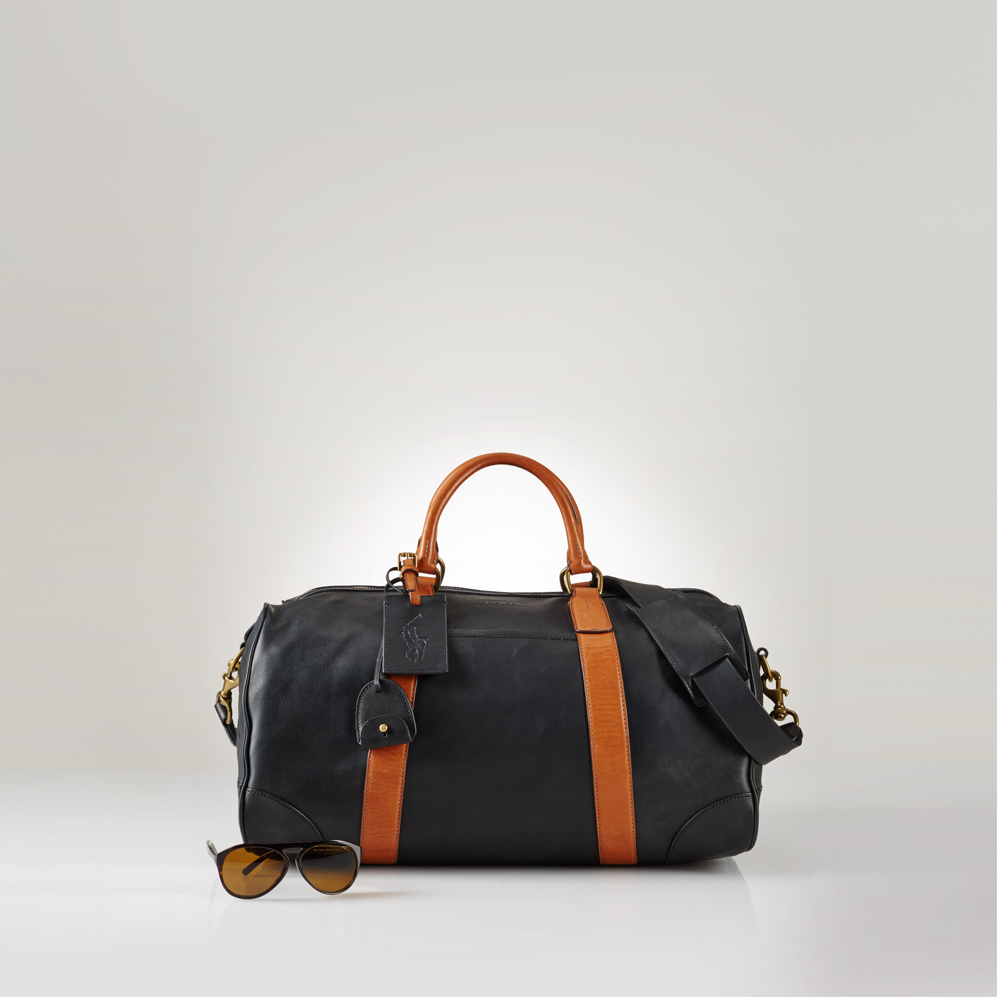 67ced29a3b Polo Ralph Lauren Smooth Leather Duffle Bag in Black for Men - Lyst