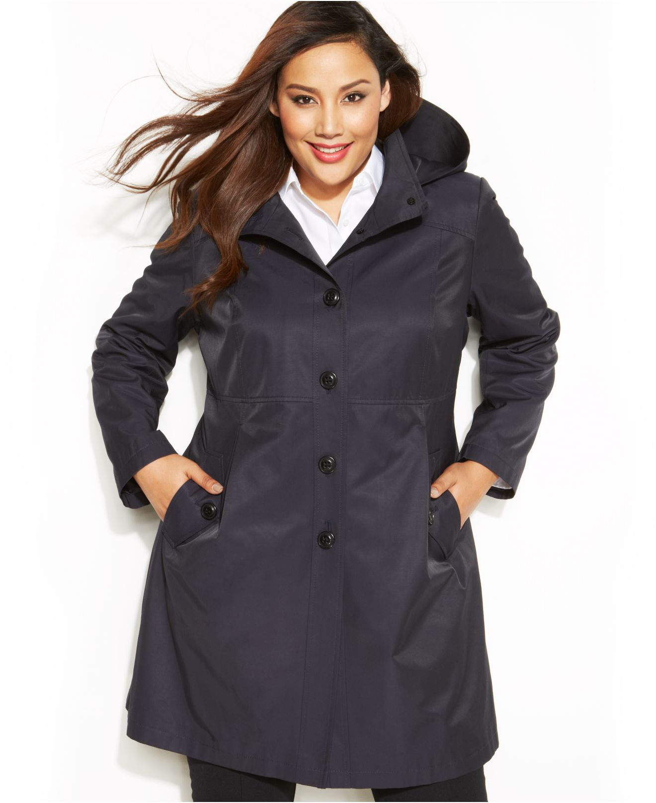 ce95ac5aedf Lyst - DKNY Plus Size Single-Breasted Hooded Raincoat in Blue