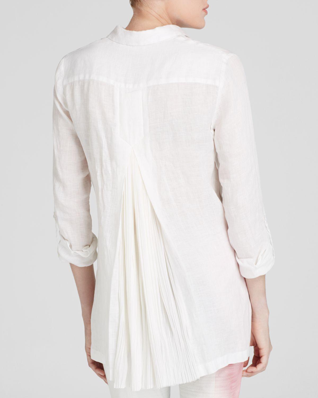 354e05815dca Elie Tahari Carly Linen Blouse in White - Lyst