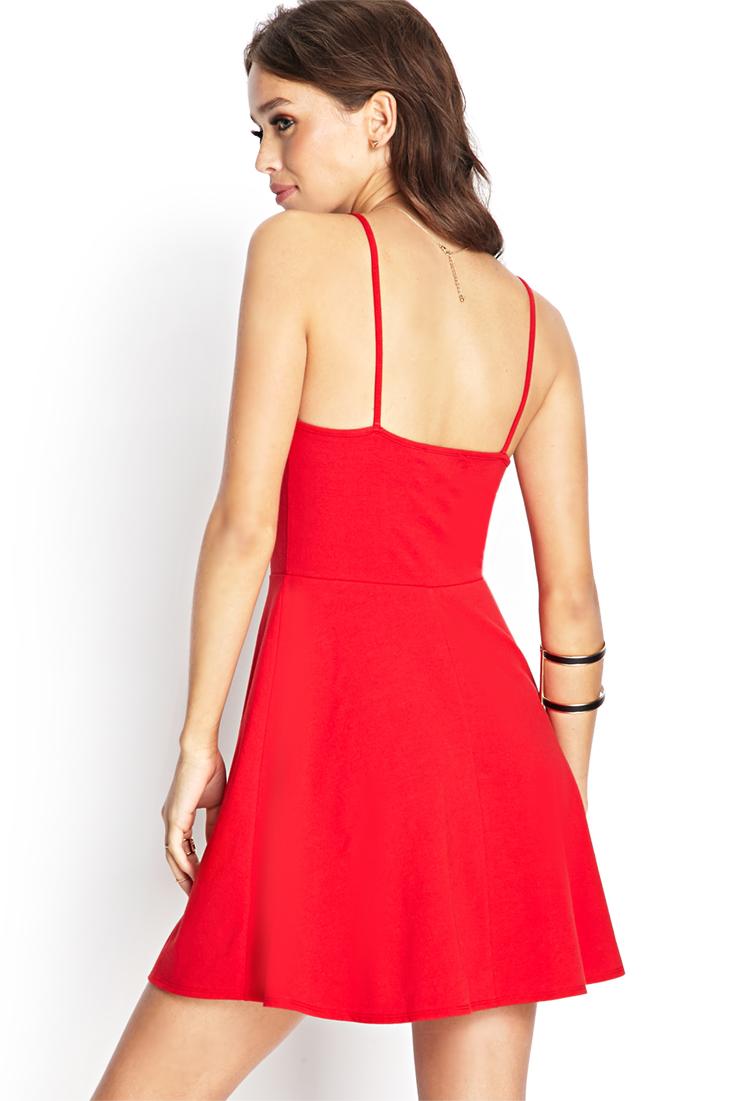 Forever 21 Cami Skater Dress In Red Lyst