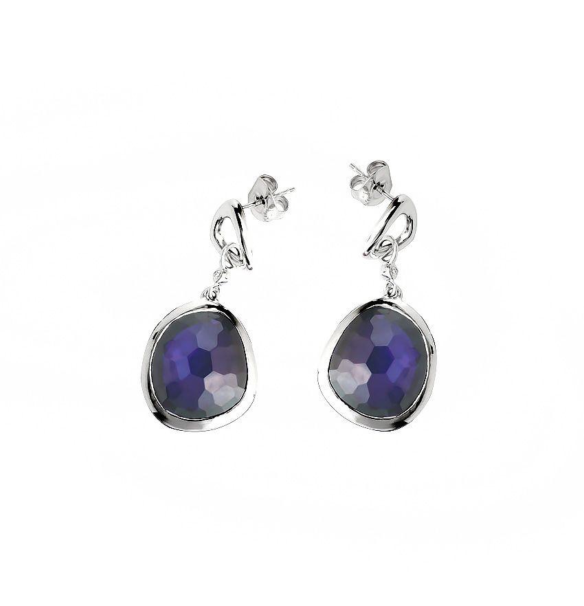 Azzure Silvers: Azendi Sterling Silver Azure Blue Drop Earrings In Blue