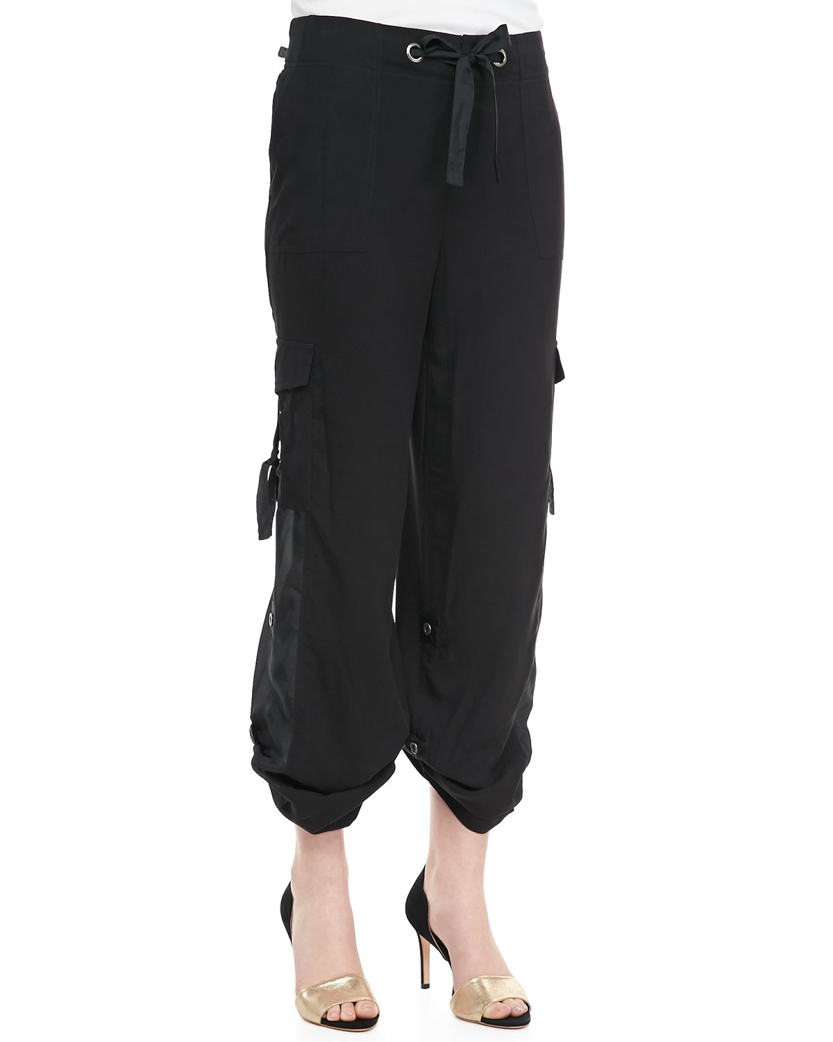 Go Silk Silk Cargo Pants in Black | Lyst