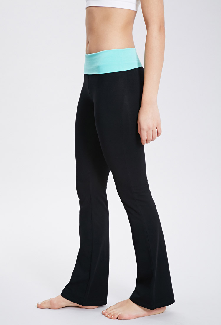 Forever 21 Active Fold Over Waist Yoga Pants In Black Lyst