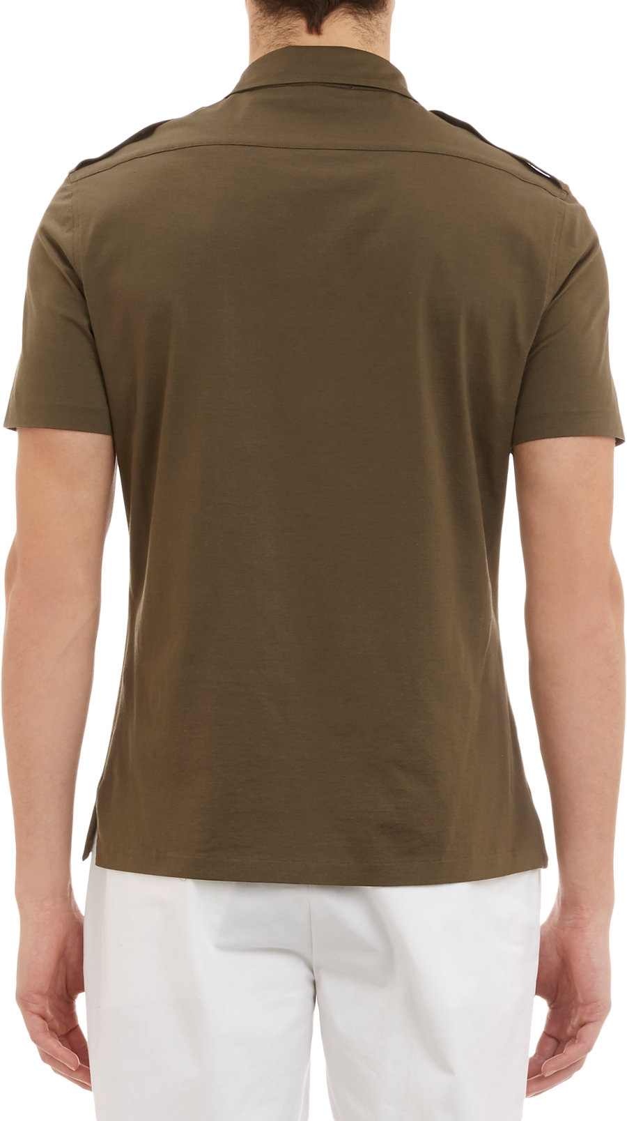 Lyst ralph lauren black label epaulette polo shirt in for Ralph lauren black label polo shirt