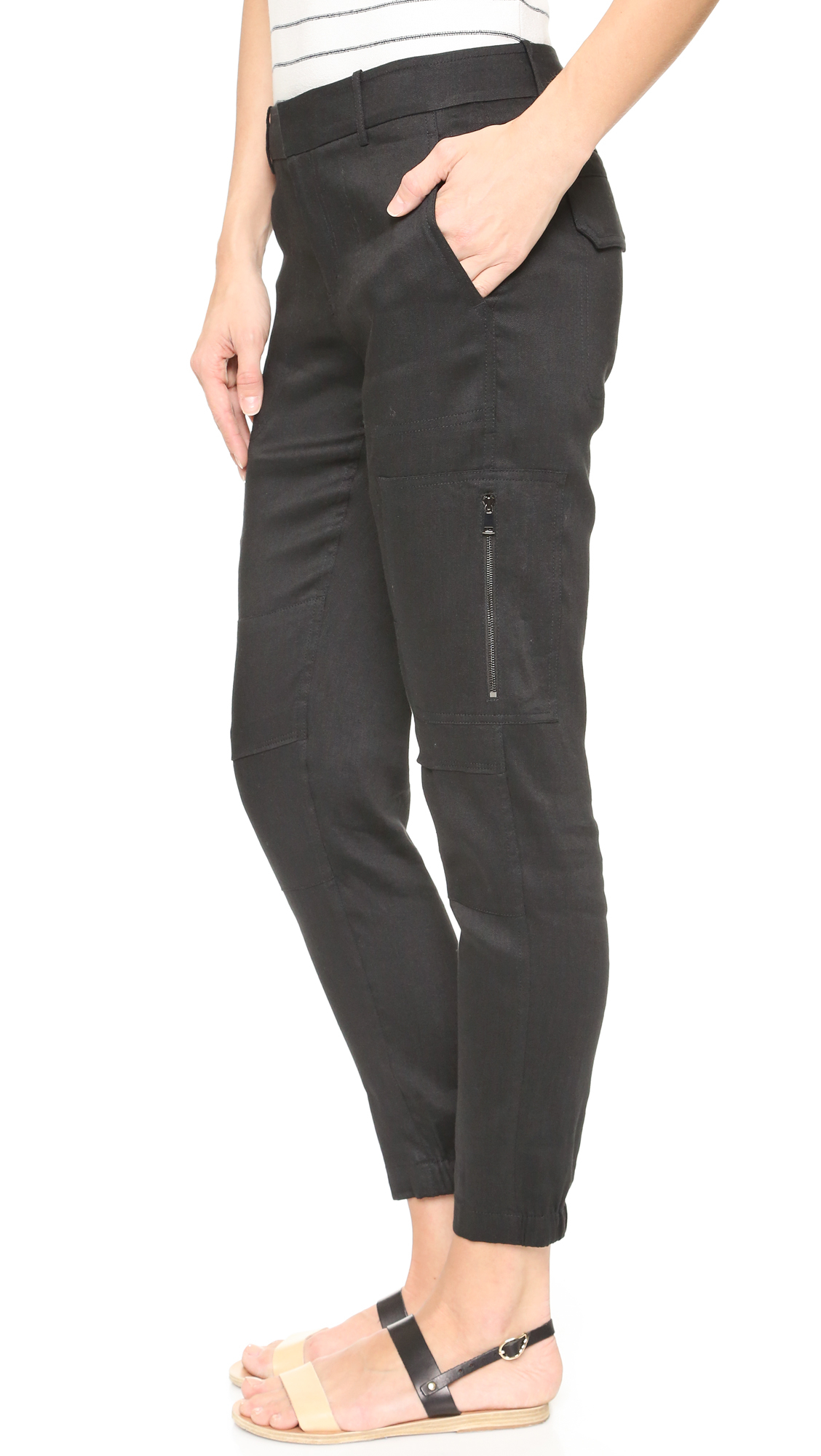 Vince Linen Cargo Pants In Black Lyst