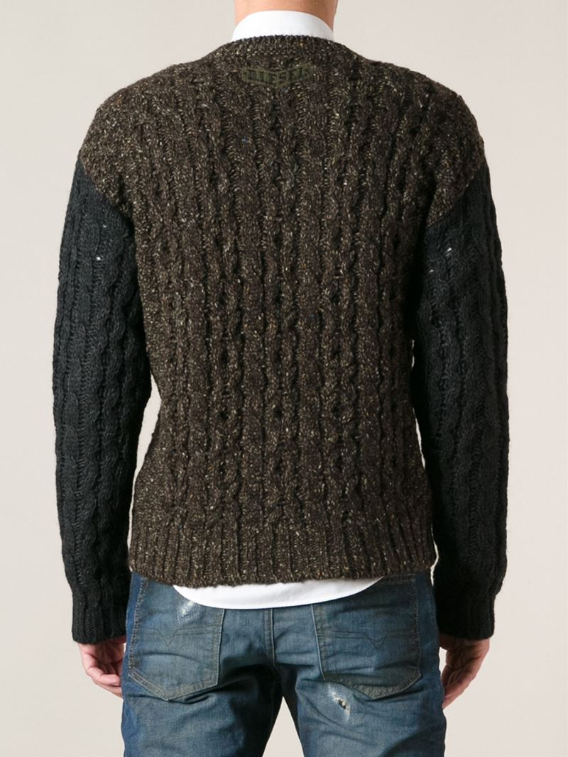 Lyst Diesel Cable Knit Sweater In Brown For Men