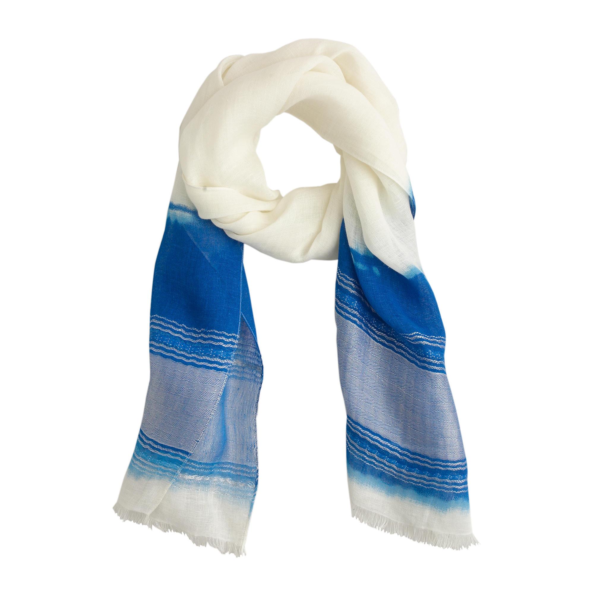 j crew linen dip dyed scarf in white white seashore lyst