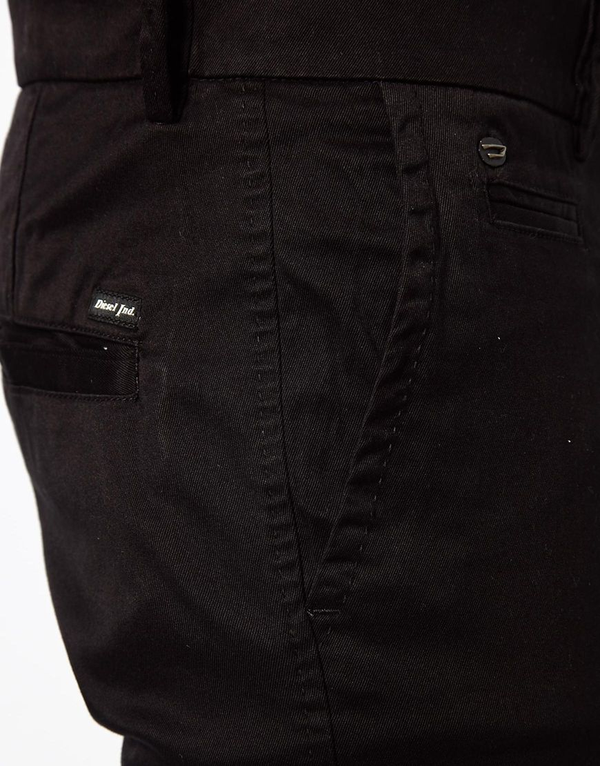 4801019f DIESEL Chinos Chi Tight E Slim Fit Washed in Black for Men - Lyst