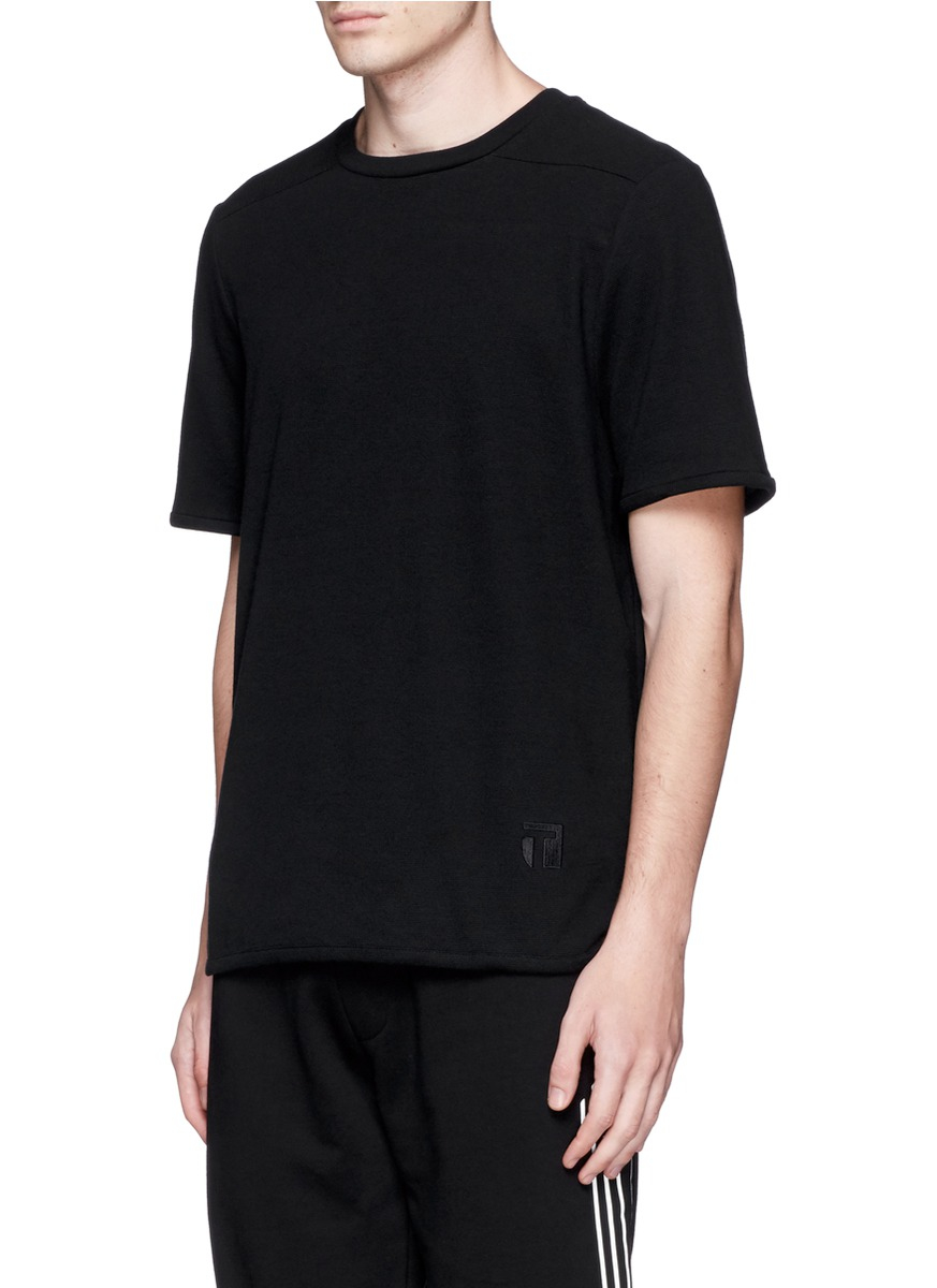Lyst t by alexander wang thermal jersey thermal t shirt for Mens black thermal t shirts