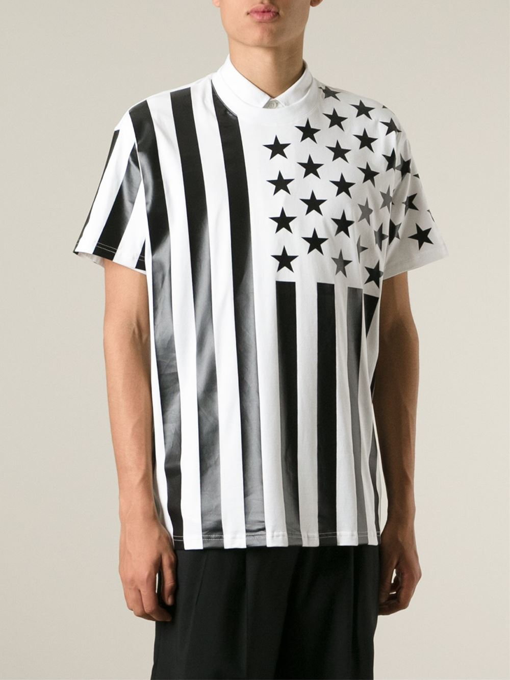 Givenchy stars and stripes print t shirt in white for men for Mens shirt with stars